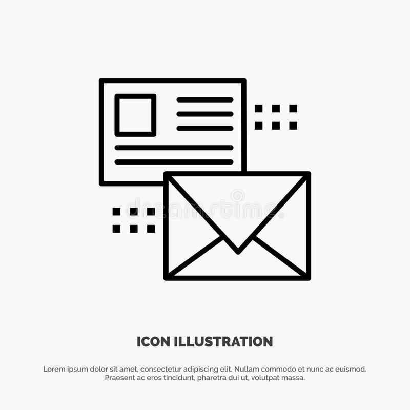 Mailing, Conversation, Emails, List, Mail Line Icon Vector royalty free illustration