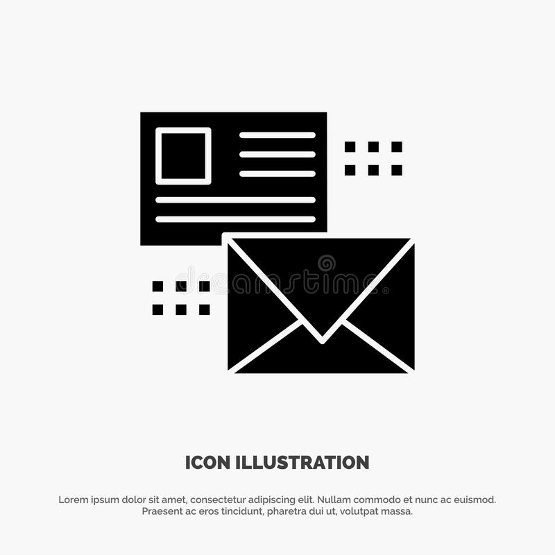 Mailing, Conversation, Emails, List, Mail solid Glyph Icon vector vector illustration