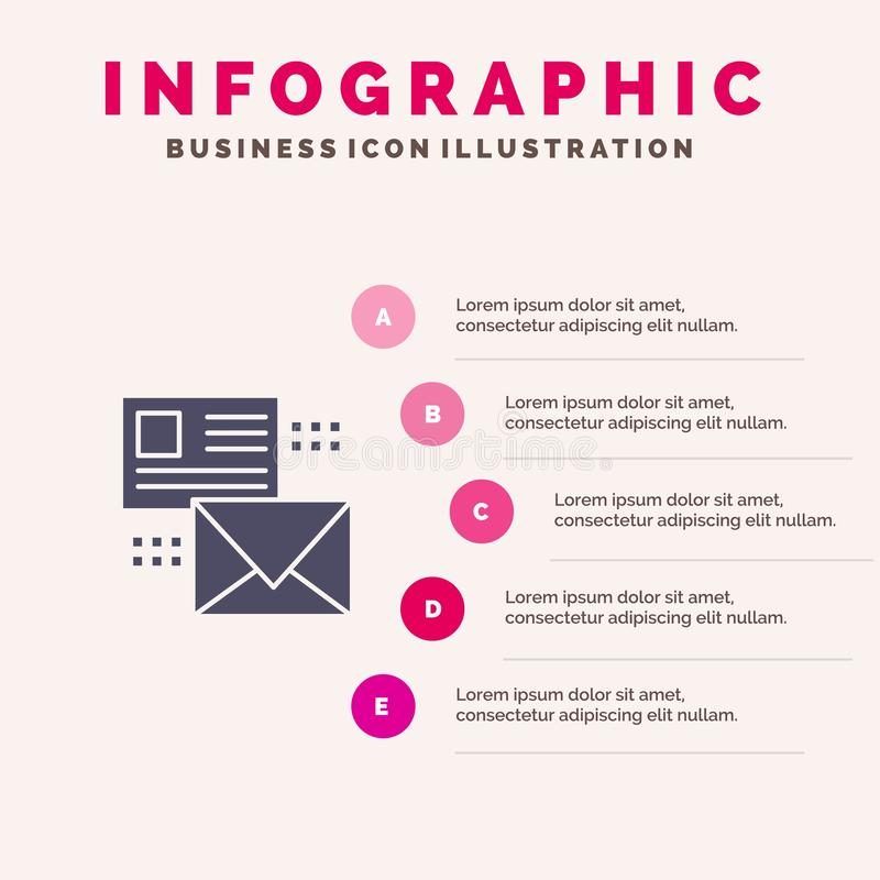 Mailing, Conversation, Emails, List, Mail Solid Icon Infographics 5 Steps Presentation Background royalty free illustration