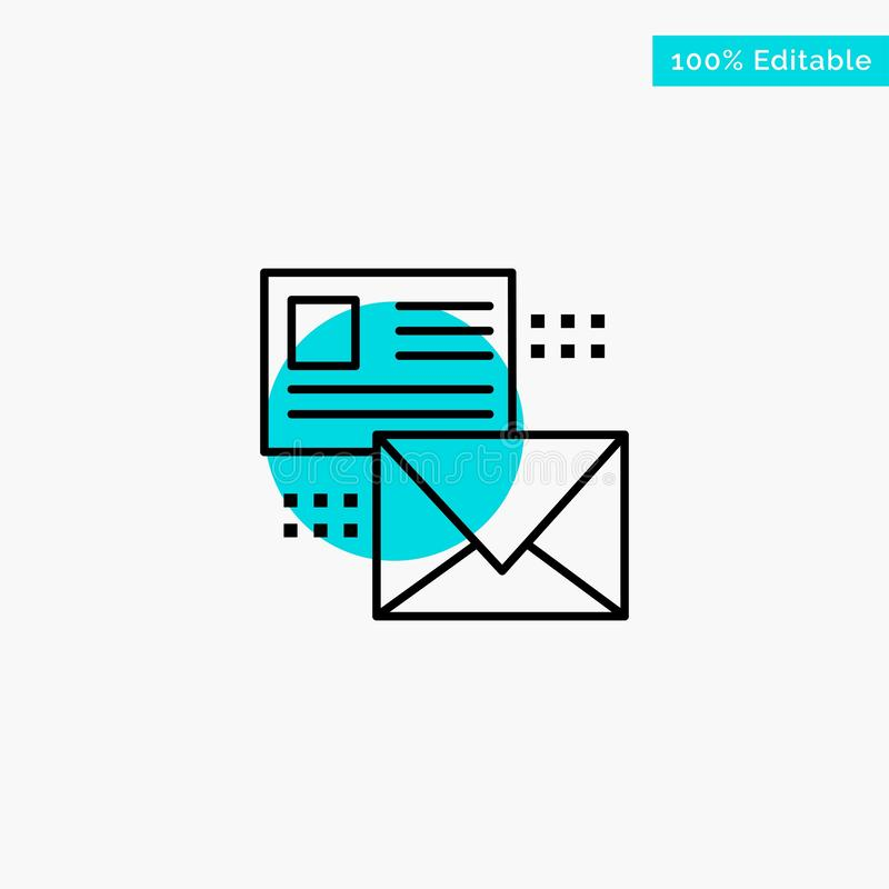 Mailing, Conversation, Emails, List, Mail turquoise highlight circle point Vector icon royalty free illustration