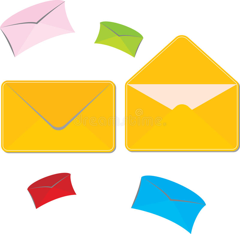 Mailing envelope. Set of colored large and small mailing envelopes stock illustration