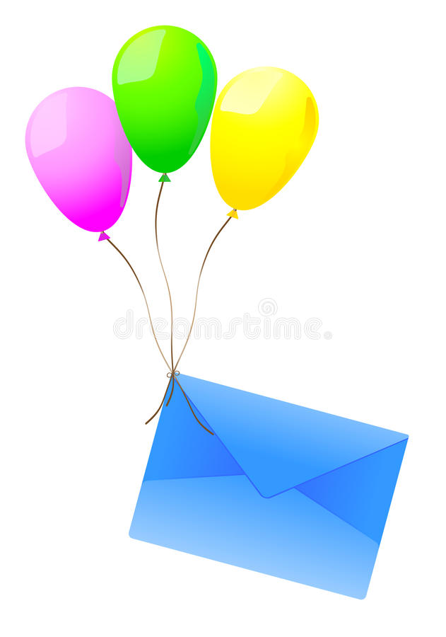 Mailing Envelope And Balloons Stock Photos