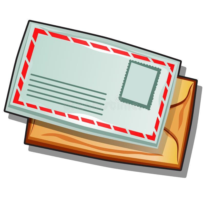 Mailing envelope isolated on white background. Vector cartoon close-up illustration. Mailing envelope isolated on white background. Vector cartoon close-up royalty free illustration