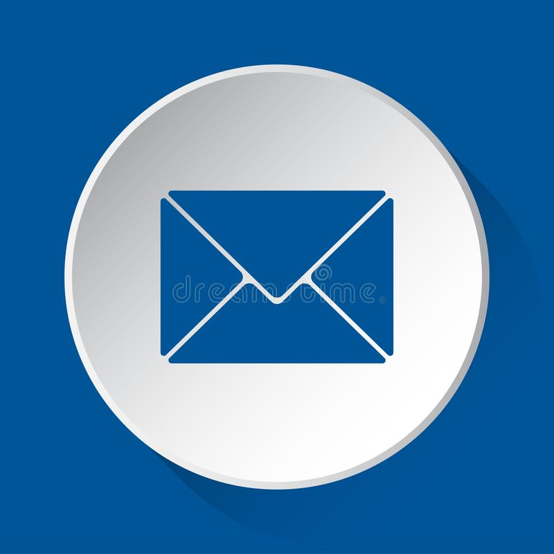 Mailing envelope, simple blue icon on white button. Mailing envelope - simple blue icon on white button with shadow in front of blue square background royalty free illustration