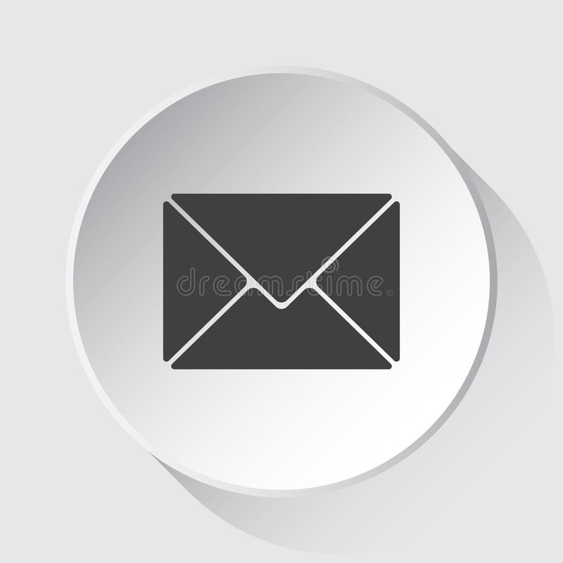 Mailing envelope, simple gray icon on white button. Mailing envelope - simple gray icon on white button with shadow in front of light gray square background stock illustration