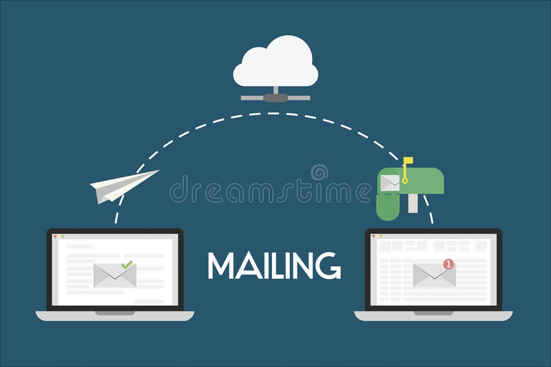 Mailing Flat Illustration. Mailing illustrations of a email from one computer to another. The email is sent from first computer, through the cloud to reach the vector illustration