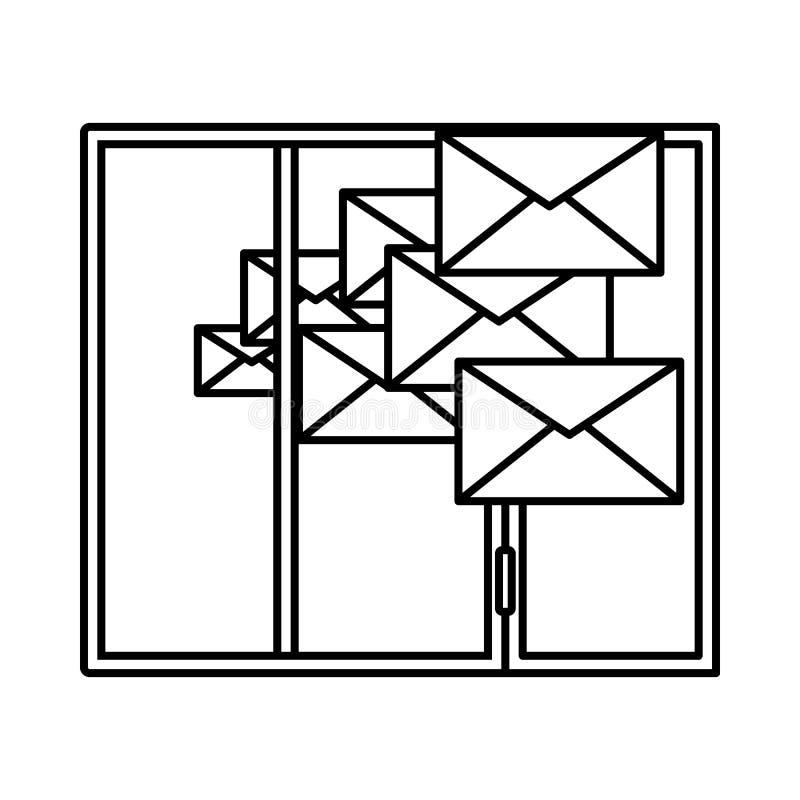 Mailing Icon. Outline Simple Design. Vector Illustration stock illustration