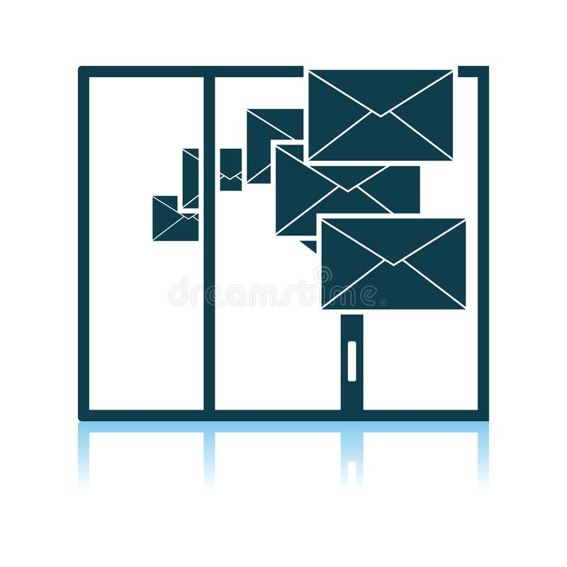 Mailing Icon. Shadow Reflection Design. Vector Illustration stock illustration