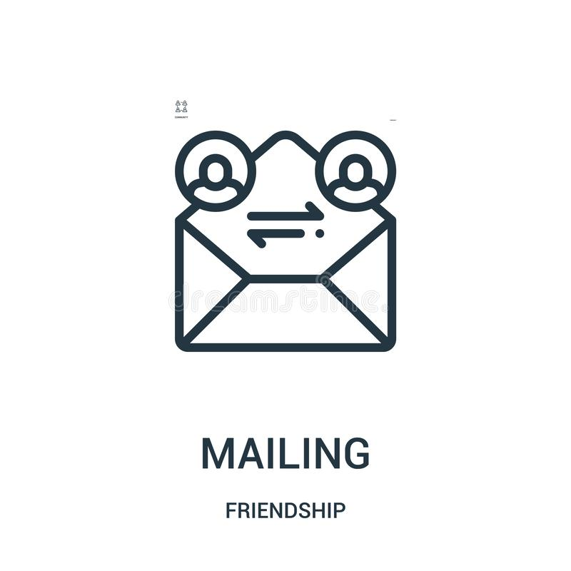 mailing icon vector from friendship collection. Thin line mailing outline icon vector illustration. Linear symbol for use on web royalty free illustration
