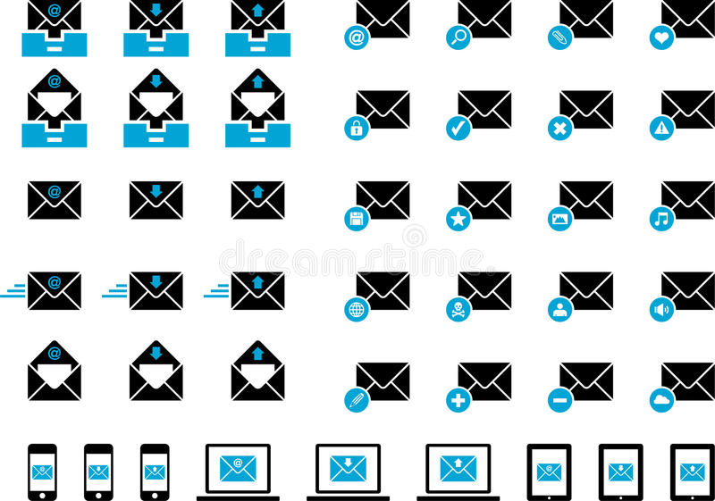 Mailing icons. This is a collection of mailing icons stock illustration