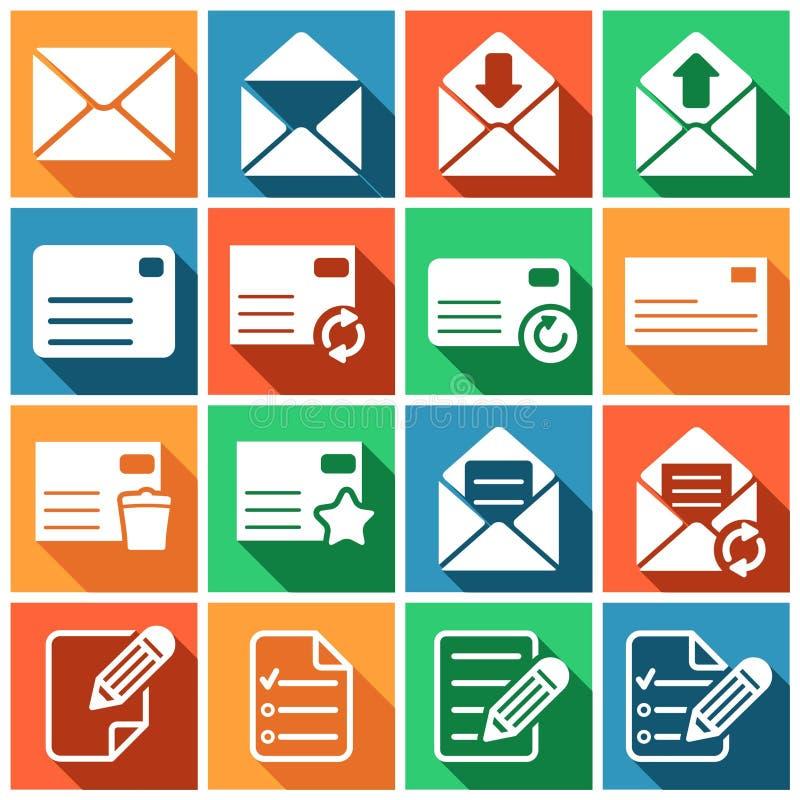 Mailing icons. Set of flat colored simple web icons (letter, mailing, communacation), illustration stock illustration