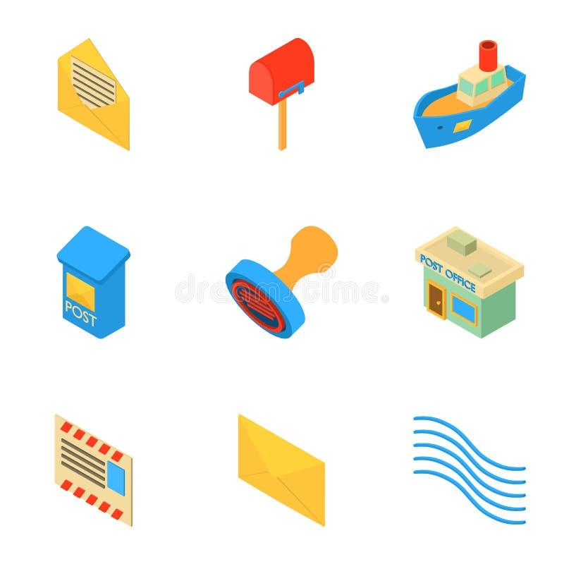 Mailing icons set, isometric style. Mailing icons set. Isometric set of 9 mailing vector icons for web isolated on white background royalty free illustration