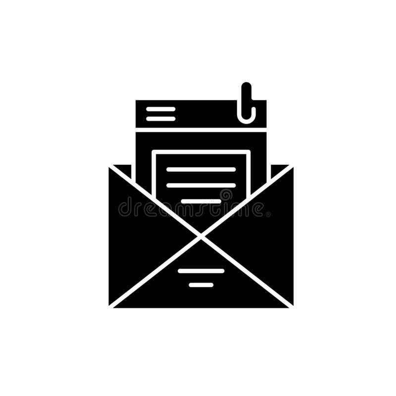 Mailing list black icon, vector sign on isolated background. Mailing list concept symbol, illustration stock illustration