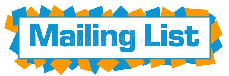 Mailing List Blue Orange Random Shapes Horizontal. Mailing list text written over blue orange background vector illustration