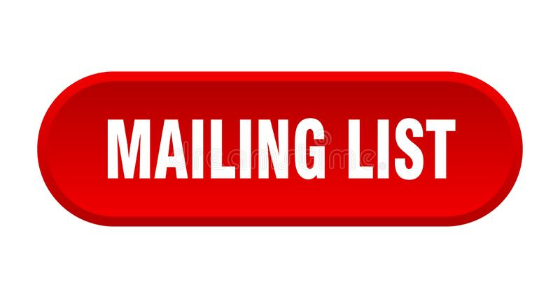Mailing list button. Mailing list rounded isolated sign.  mailing list stock illustration