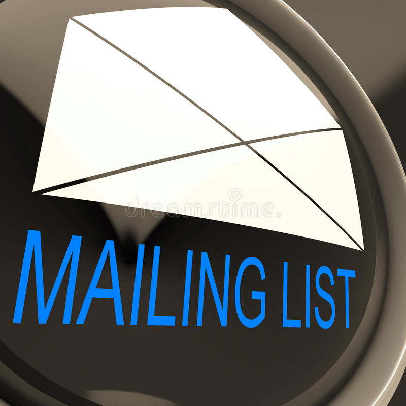 Mailing List Envelope Means Contacts Or Email Database royalty free illustration
