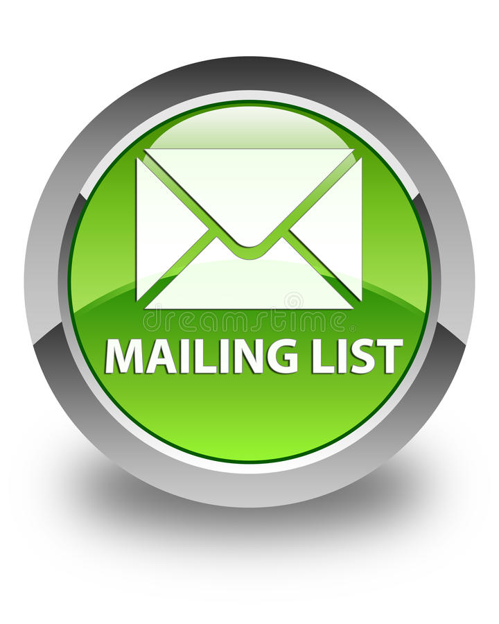 Mailing list glossy green round button royalty free illustration