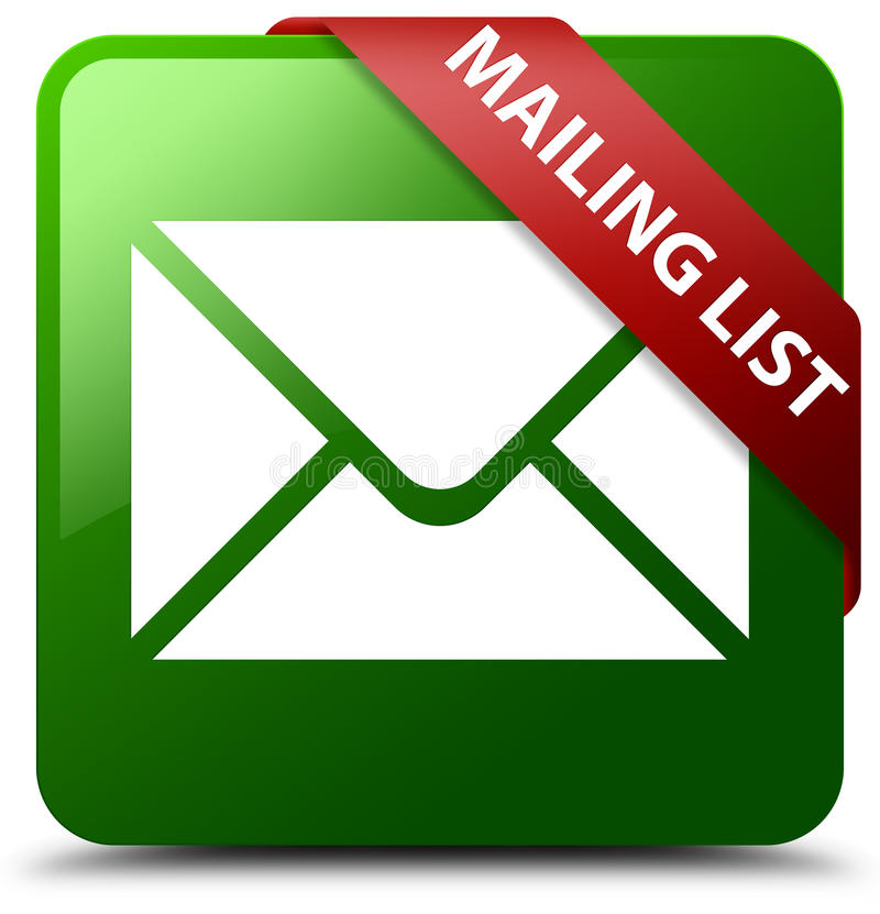 Mailing list green square button. Reflecting shadow with red ribbon in corner vector illustration