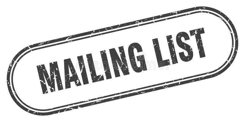 Mailing list stamp. Mailing list grunge vintage stamp isolated on white background. mailing list. sign stock illustration