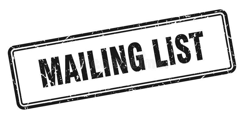 Mailing list stamp. Mailing list grunge vintage stamp isolated on white background. mailing list. sign royalty free illustration