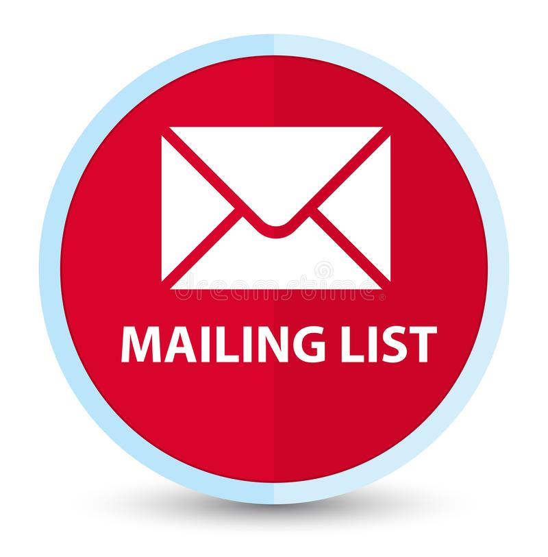 Mailing list flat prime red round button stock illustration