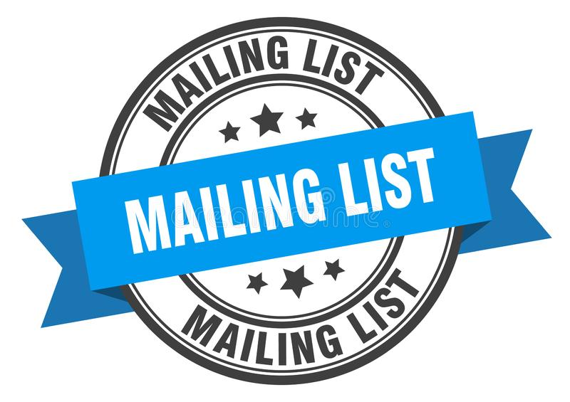 Mailing list label. Mailing list isolated sign.  mailing list stock illustration