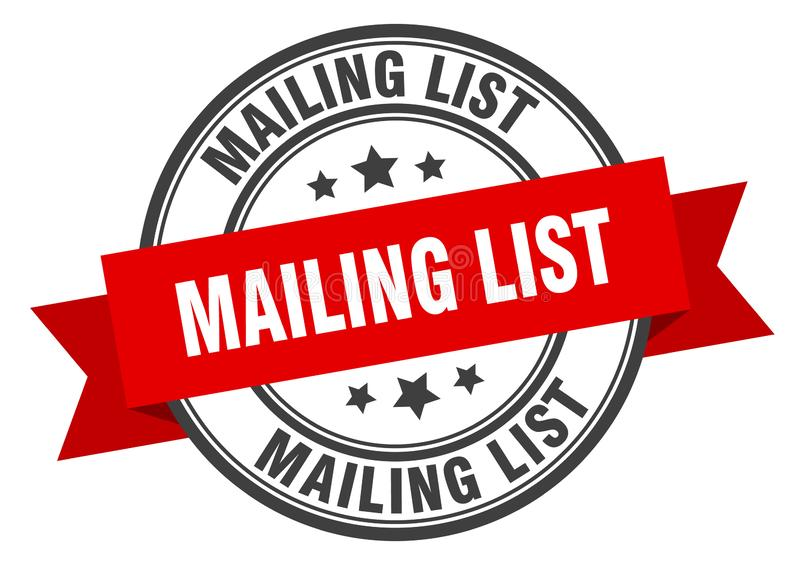 Mailing list label. Mailing list isolated sign.  mailing list royalty free illustration