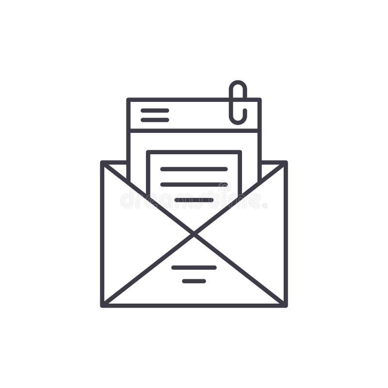 Mailing list line icon concept. Mailing list vector linear illustration, symbol, sign vector illustration