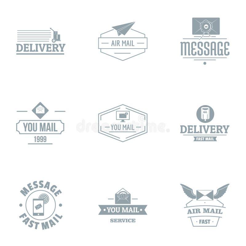 Mailing list logo set, simple style. Mailing list logo set. Simple set of 9 mailing list vector logo for web isolated on white background stock illustration