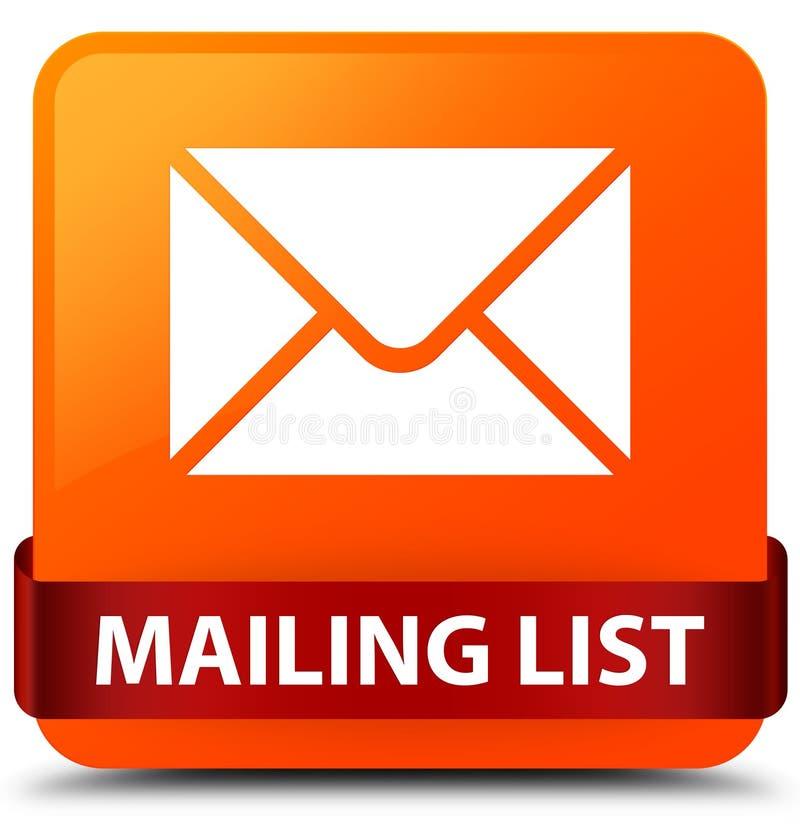 Mailing list orange square button red ribbon in middle. Mailing list isolated on orange square button with red ribbon in middle abstract illustration vector illustration