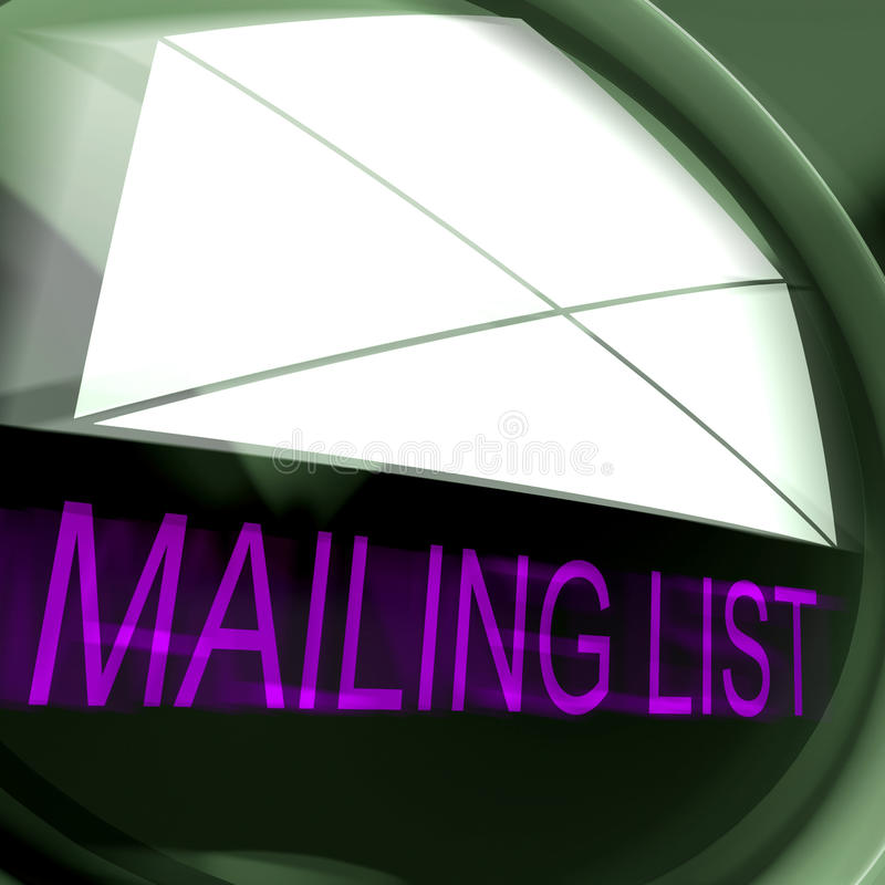 Mailing List Postage Means Contacts Or Email Database stock illustration