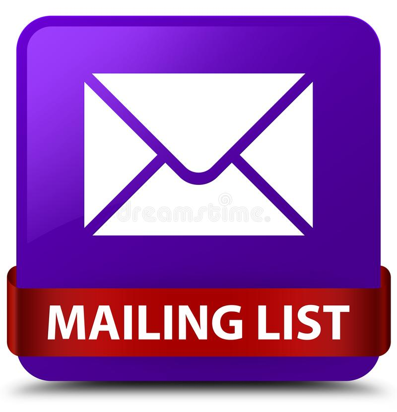 Mailing list purple square button red ribbon in middle. Mailing list isolated on purple square button with red ribbon in middle abstract illustration stock illustration