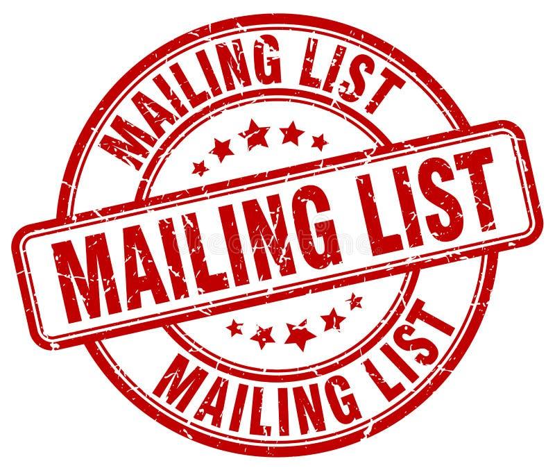 mailing list red grunge round vintage stamp royalty free illustration