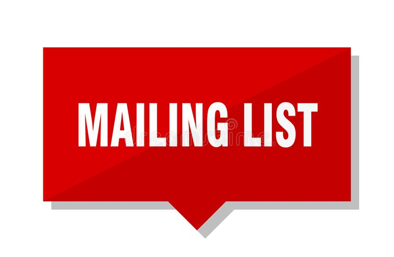 Mailing list red tag. Mailing list red square price tag stock illustration