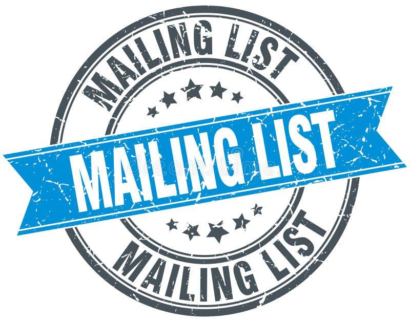 Mailing list stamp. Mailing list round grunge vintage ribbon stamp. mailing list stock illustration