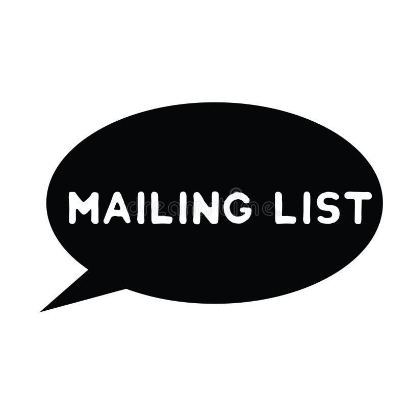 Mailing list rubber stamp. Black. Sign, label sticker royalty free illustration