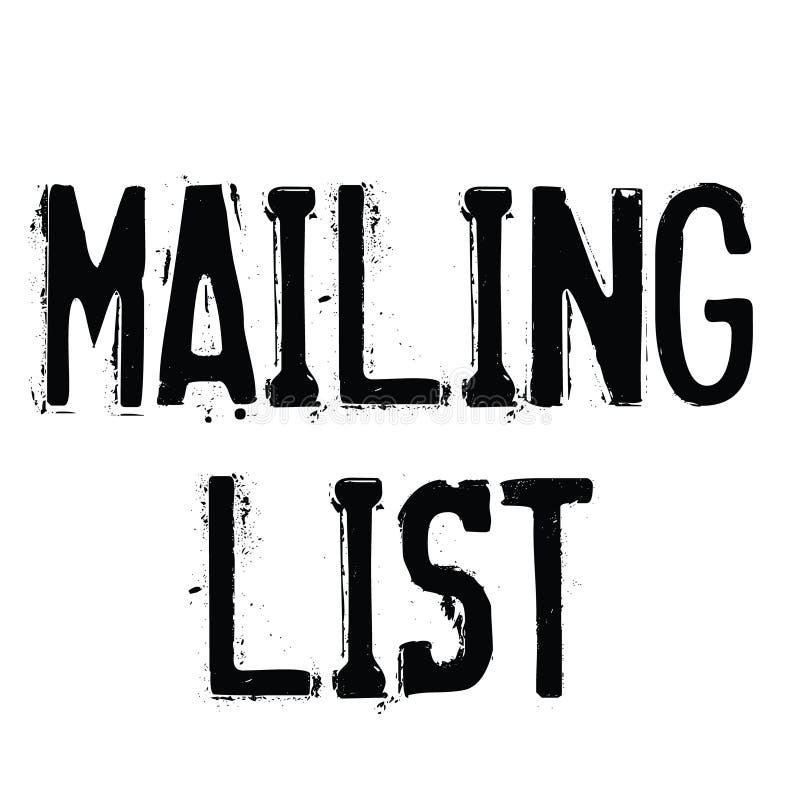 Mailing list rubber stamp. Black. Sign, label sticker vector illustration