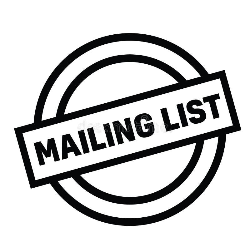 Mailing list rubber stamp. Black. Sign, label sticker stock illustration