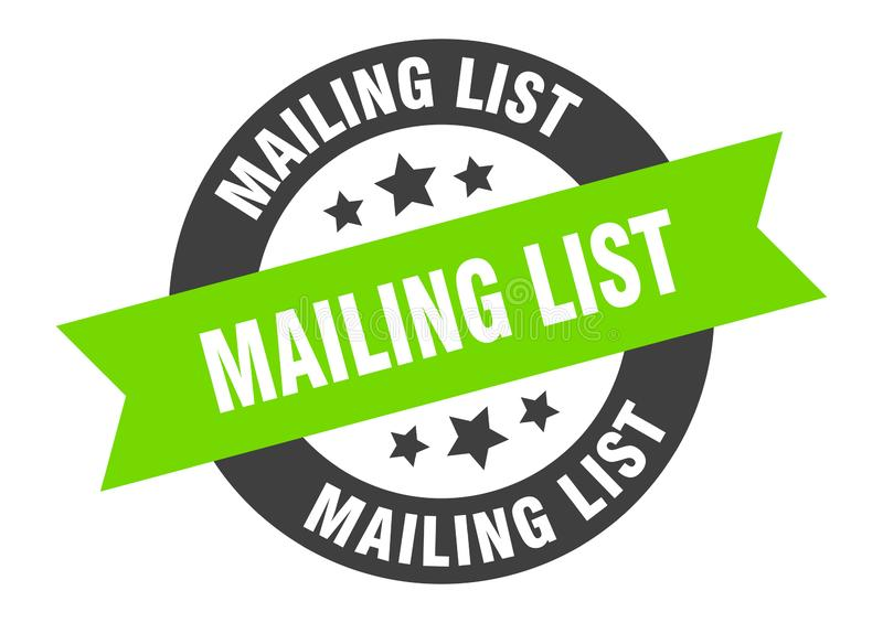 mailing list sign stock illustration