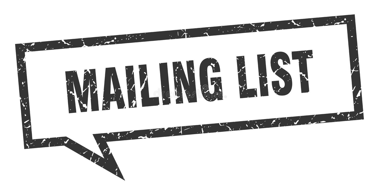 Mailing list speech bubble. Mailing list isolated sign.  mailing list vector illustration