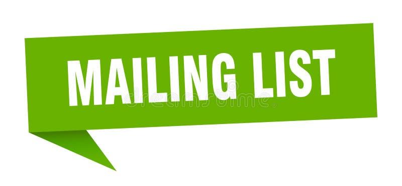 Mailing list speech bubble. Mailing list sign. mailing list stock illustration