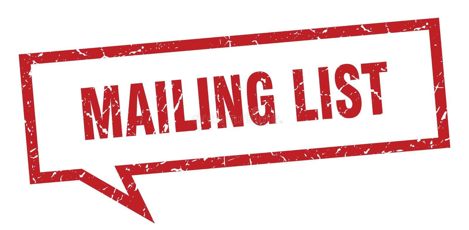 Mailing list speech bubble. Mailing list isolated sign.  mailing list stock illustration