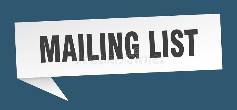Mailing list speech bubble. Mailing list sign. mailing list vector illustration