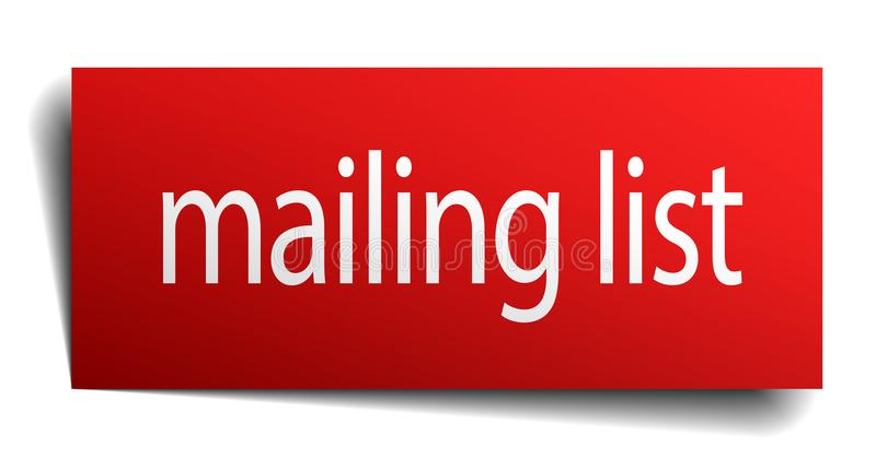 Mailing list sign. Mailing list square paper sign isolated on white background. mailing list button. mailing list stock illustration