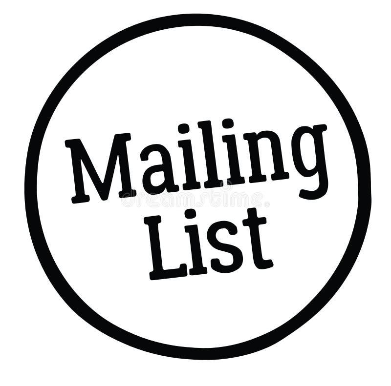 Mailing list stamp. On white background royalty free illustration