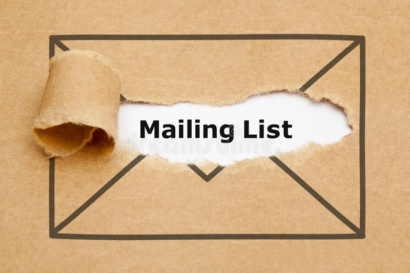 Mailing List Torn Paper Concept royalty free stock image