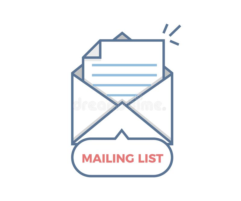 Mailing List vector icon. Opened envelope with paper coming out vector illustration