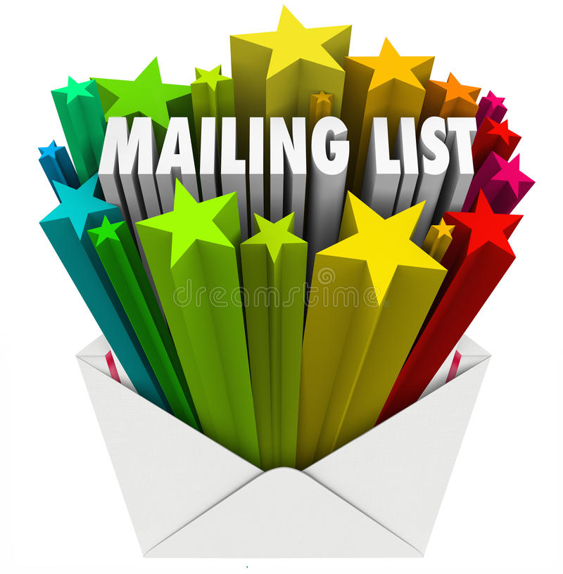 Mailing List Words in Star Envelope. An open envelope with the words Mailing List to illustrate a file of customers, readers, subscribers or recipients for your royalty free illustration