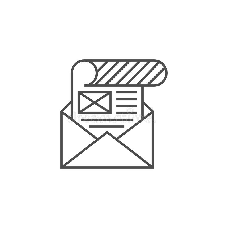 Mailing icon flat. Mailing Related Vector Thin Line Icon. Isolated on White Background. Editable Stroke. Vector Illustration royalty free illustration
