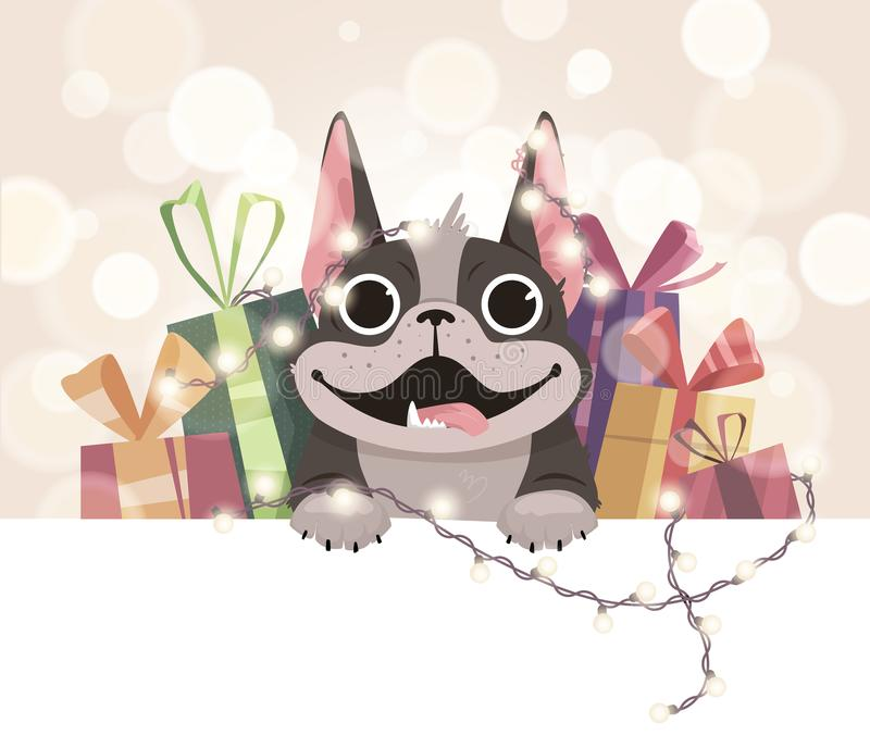 Mailing template for the new year. A cheerful French bulldog with gifts and a herring. Boke in the background royalty free illustration
